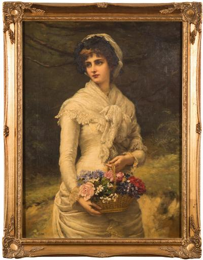 Sale FS40; Lot: 0431: William Oliver [1823-1901] - A basket of flowers,- signed and dated 1882 bottom left oil on canvas 60 x 44cm.