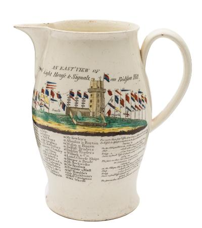Sale FS40; Lot: 0575: A Liverpool creamware jug of baluster form with strap handle printed in black and coloured with a view of Liverpool Lighthouse and Signals on Bidston Hill 1788 together with a key for the forty four flags displayed, circa 1790, 19cm high.