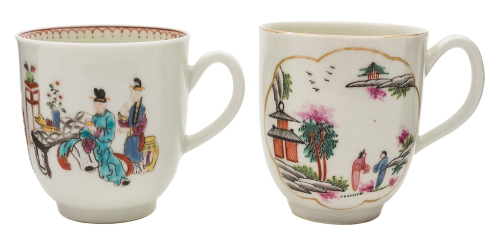 Sale FS40; Lot: 0602: Two First Period Worcester polychrome coffee cups one painted with the 'Stag Hunt' pattern within gilt cartouches, circa 1765-70, 7 cm; the other painted and printed with the 'Chinese Family' pattern, the rim with loop and dot border, circa 1765-70, 6.5 cm.