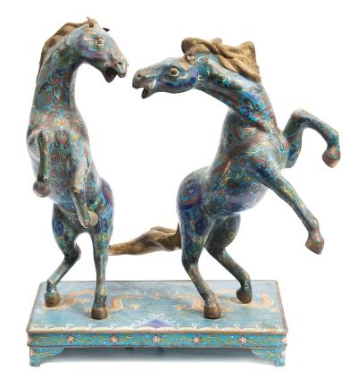 Sale FS40; Lot: 0684: A Chinese cloisonne horse group of two rearing horses, decorated with dragons, on a rectangular base decorated with dragons and flaming pearls, on bracket feet, 50cm high.