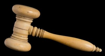 Sale FS40; Lot: 0735: A late 19th/early 20th century ivory gavel with ring turned head and handle, 12.5cm long.