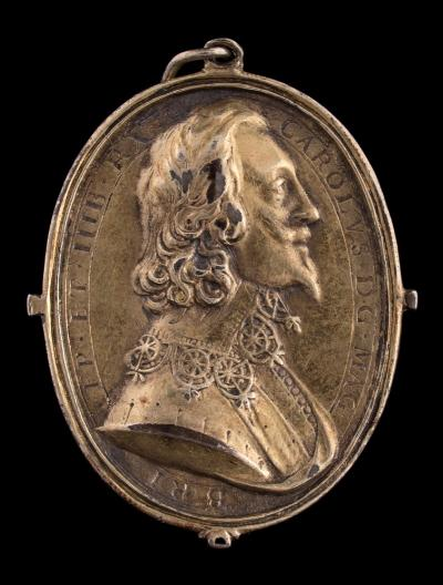 Sale FS40; Lot: 0758: A Charles I silver gilt Royalist badge, by Thomas Rawlins bust of Charles I right with falling lace collar and close buttoned doublet, CAROLUS DG MAG BRI FR ET HIB RX, rev inscribed to the plain back 'King Charles dy'd. I Feare my god. I love my King. I abhore a reble, January 30, 1648. 45 x 37mm (MI 360/231; Elmer 167).