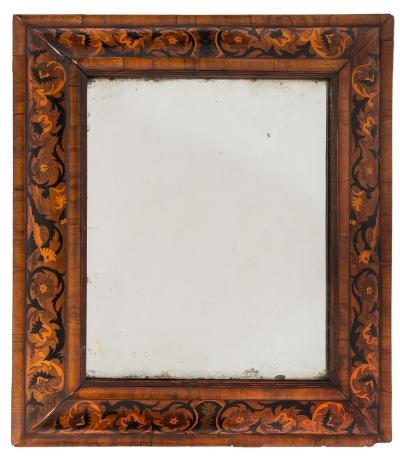 Sale FS40; Lot: 1011: An early 18th Century walnut and marquetry rectangular cushion frame mirror, the plate within a reeded and moulded slip and surround decorated with birds and scrolling floral foliage, 75cm (2ft 5 1/2in) x 66cm (2ft 2in).