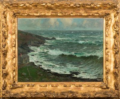 Sale FS40; Lot: 0397: Samuel John Lamorna Birch [1869-1955] - The Cove, Wind Blown Sea,- signed and dated SJ Lamorna Birch 1902 bottom left further signed and inscribed as titled on a label on the reverse of the frame oil on canvas 46 x 61cm Note. See lot 403.