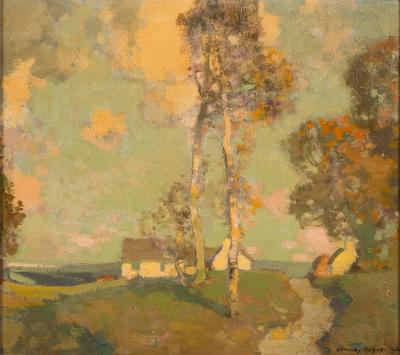 Sale FS40; Lot: 0445: Stanley Royle [1888-1961] - Summer landscape; signed and dated 1928 oil on board 23 x 26.5cm.