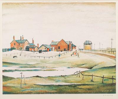 Sale FS40; Lot: 0455: Laurence Stephen Lowry [1887-1976] - Landscape with farm buildings,- signed in pencil bottom right coloured print published by Venture Prints Ltd, 1976 sight size 44 x 52cm.