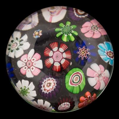 Sale FS40; Lot: 0533: A Clichy spaced millefiori paperweight set with a variety of coloured cabbage and other mixed canes, 6cm diameter.