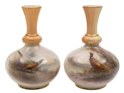 Sale FS40; Lot: 0615: A pair of Royal Worcester vases by James Stinton each of squat baluster form with leaf moulded fluted neck and painted with a cock pheasant in a lake landscape, signed, green factory marks and date codes for 1906/7, 13 cm.