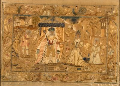 Sale FS40; Lot: 0668: A late 17th silkwork embroidered panel probably depicting Charles II and Catherine of Braganza under marital canopies, with attendants, worked in coloured silks, enclosed by a border of birds, animals, flowers and insects, 36 x 51cm.