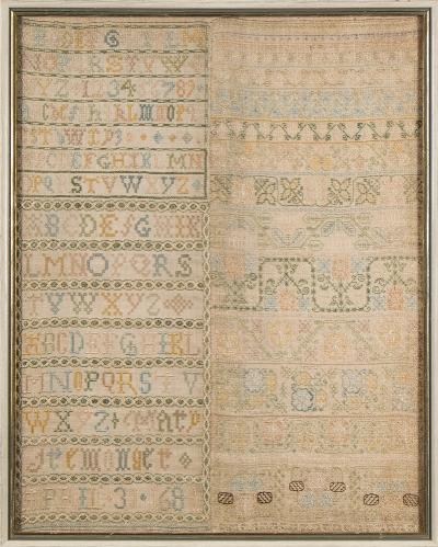 A 17th century banded sampler with upper case alphabet, arabic numerals, trailing flowerheads and foliage, worked in coloured silks by Mary Iremonger and dated April 30 1684, 52 x 41cm.
