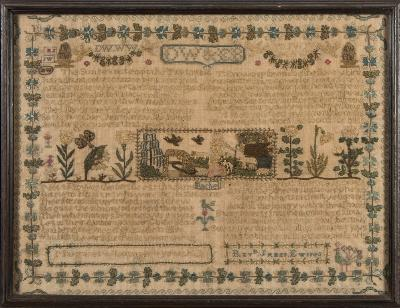 Sale FS40; Lot: 0670: An early 19th century needlework sampler with banded decoration of verse and panels of flowers, figures and animals, enclosed by a floral border, worked in coloured silks by Margaret William and dated 1825, 31.5 x 42cm.