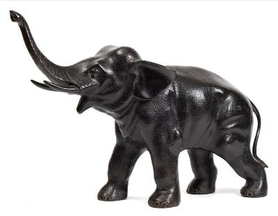 Sale FS40; Lot: 0704: A large Japanese bronze model of an elephant with raised trunk and open mouth, unsigned, 54cm long.