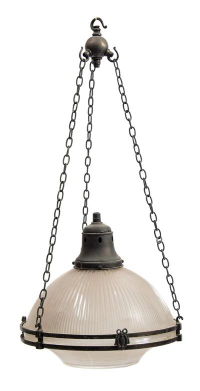 A Victorian opaque glass ceiling light the domed and fluted shade supported on a bronzed metal girdle with chain suspensions, 35cm diameter.