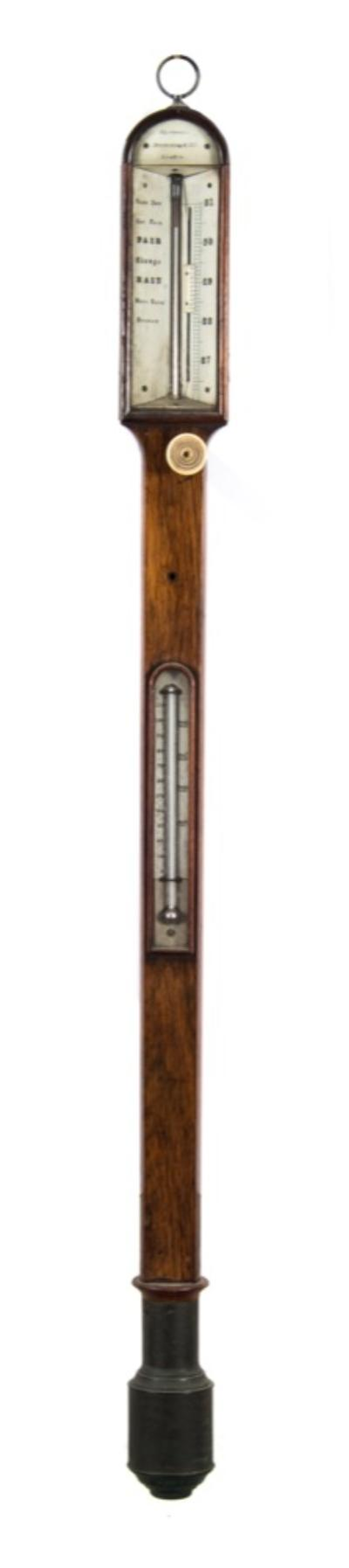 Spencer Browning and Co, London, a 19th century mahogany marine barometer the bone dials aslant having typical barometer markings with a vernier scale set from below and signed within the arch by the maker Spencer Browing & Co, London, the mahogany curved top case having a brass cistern to the base and brass bound holes for fixing to a gymbal, height 94cms.