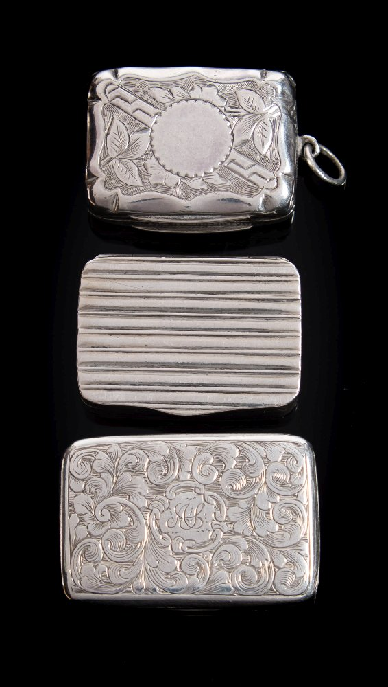 Sale FS41; Lot: 0073: A Victorian silver vinaigrette, maker Joseph Willmore, Birmingham, 1839 initialled, of rectangular outline the hinged lid enclosing a pierced grill 3.5cm wide, together with two other silver vinaigrettes, total weight of silver 52gms, 1.69ozs.