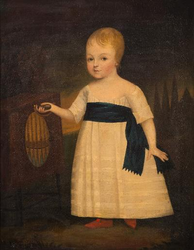 Sale FS41; Lot: 0282: Arnold [late 18th century] - A young child standing, full-length,- wearing a white tunic with blue sash and red slippers, working a mechanical pipe-music machine signed and dated Arnold 1796[?] bottom left oil on canvas 91 x 70cm.