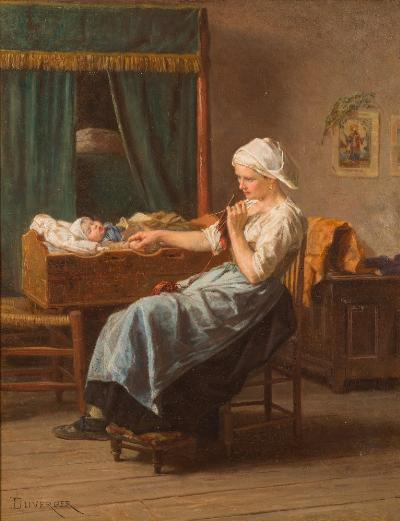 Sale FS41; Lot: 0291: Theophile Emmanuel du Verger [1821-1901] - Maternal Cares; mother and baby in an interior,- signed DuVerger bottom left also signed and titled on a label on the reverse oil on panel 39 x 31cm.