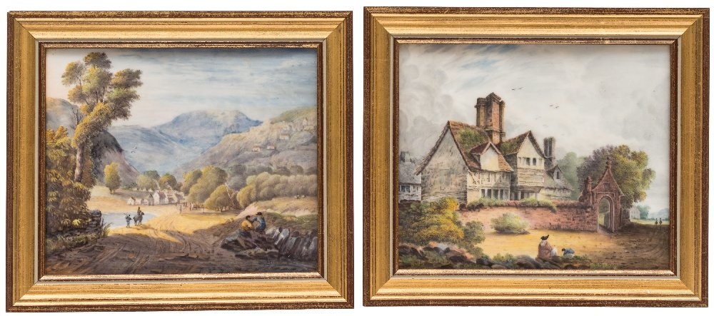 Sale FS41; Lot: 0625: A pair of English porcelain topographical plaques one painted with a named view 'Cottage built at Wigmore, Kent in 1599', the other with a view of a valley with figures in the foreground, a village and mountains beyond, possibly Grainger Lee & Co, circa 1830, 12 x 14.5cm, framed. *Note. One with paper label 'The City of Bristol Museum and Art Gallery/The British Antique Dealers' Association 1979 ExhNo49'.