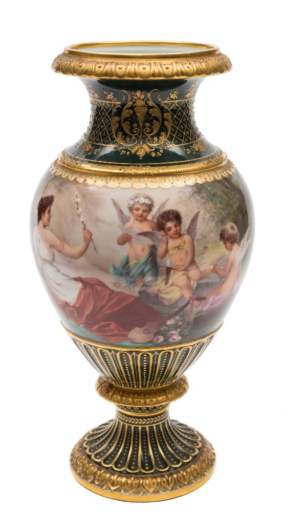 Sale FS41; Lot: 0669: A Vienna baluster vase the body painted by Wagner with a classical beauty and three cherub musicians in a romantic landscape setting titled 'Chansons d'amour', on a gilt-tooled green ground, shield mark, 30 cm.