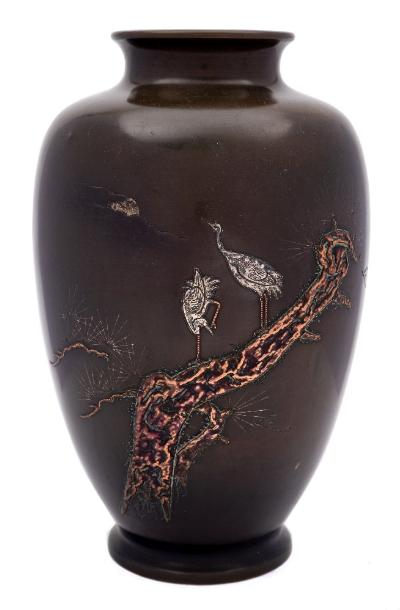 Sale FS41; Lot: 0768: A Japanese bronze, silver and copper inlaid vase of oviform outline, decorated with cranes perched on a tree in moonlight, unsigned, 28cm high.