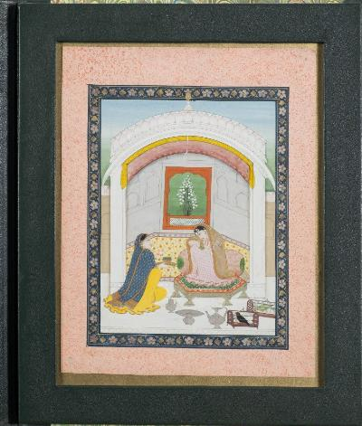 Sale FS41; Lot: 0792: A Muhgal School painting depicting a Princess and attendant within an interior, 26 x 21cm, contained in a fitted wallet.