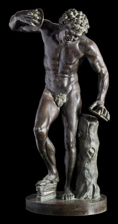 Sale FS41; Lot: 0845: After Pietro Cipriani, the Dancing Faun holding cymbals and standing beside a tree stump, the base inscribed Musee de Florence, 58cm high.