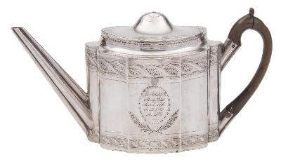 Sale FS41; Lot: 0113: A George III silver teapot, maker John Schofield, London, 1794 inscribed, of lobed oval form, with banded foliate decoration, and hinged domed lid, 29cm long, 545gms, 17.53ozs.