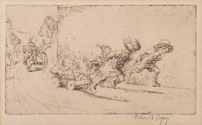 Sale FS41; Lot: 0254: Eileen Alice Soper ]1905-1990] - Tiddlers; Children Carting; Children on a Harbour Wall,- three etchings, each signed in pencil in the margin plate sizes 9.5 x 15cm, 10 x 17cm, 11 x 17cm.
