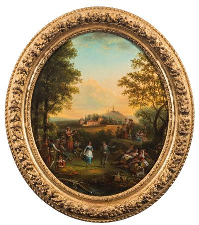Attributed to French School late 18th/early 19th Century - An Arcadian landscape with figures merry making, view to a country villa beyond; Figures celebrating by a hilltop villa, landscape and Arcadian temple beyond,- a pair, oils on canvas, ovals, each 53 x 45cm.
