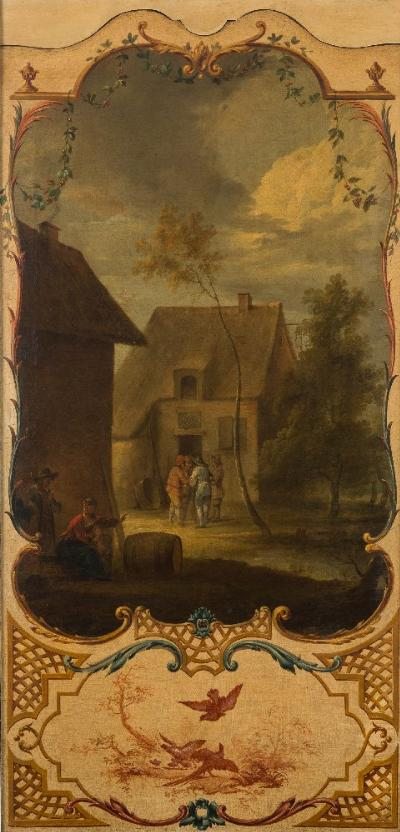 Flemish School, late 18th Century - Four interior wall canvases in the form of a French screen,- each with painted views of Italianate rural scenes with figures and decorative painted game birds below, each panel enclosed within a faux scroll, cartouche and ribbon frame:- oils on canvas each approx 146 x 72cm.