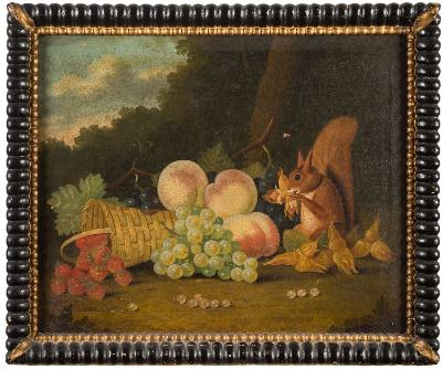 Sale FS41; Lot: 0307: English Provincial School 19th Century - Red squirrel, hazelnuts, fruit and a basket,- oil on canvas 40 x 50cm.
