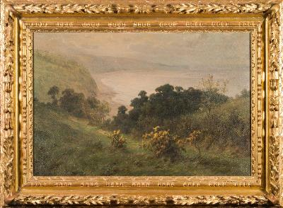 Sale FS41; Lot: 0327: Hugh Percy Heard [19/20th Century] - The Devonshire Coast,- signed bottom left oil on canvas 49.5 x 75cm.