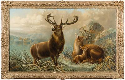 Robert Cleminson [act.1864-1903] - Monarch of the Glen,- stag, doe and fawn in the Highlands, signed and dated 1877 oil on canvas 73 x 125cm.