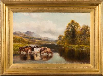 Sale FS41; Lot: 0335: William Vivian Tippett [1833-1910] - Cattle watering in an upland landscape,- signed oil on canvas, 49 x 75cm.