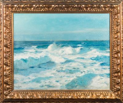 Sale FS41; Lot: 0385: Julius Olsson [1864-1942] - Coastal waves breaking in sunlight, sailing ship on the horizon - signed and inscribed to TJC? bottom left oil on canvas 60 x 74cm.