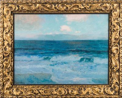 Sale FS41; Lot: 0387: Julius Olsson [1864-1942] - Seascape,- signed bottom left oil, on canvas 43 x 58cm.
