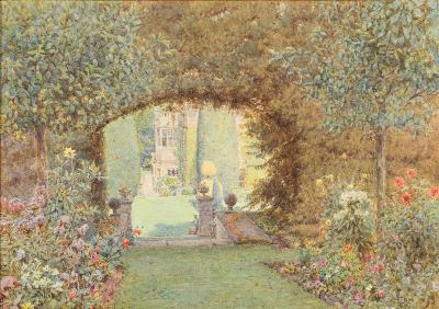 Sale FS41; Lot: 0392: Ernest Arthur Rowe [1863-1922] - St Catherine's Court garden, Bath,- signed bottom centre watercolour, 25 x 35cm.