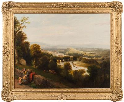 Sale FS41; Lot: 0453: Lancelot Elford Reed [Fl 1819-1844] - Totnes and the Dart from Sharpham Lodge,- signed and dated 1844 bottom centre oil on canvas 57 x 73cm.