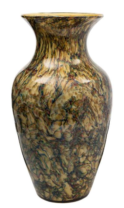 A Continental glass baluster vase in marbled blue, ruby, green and yellow colours with 'aventurine' flecks, 20th century, 40 cm.