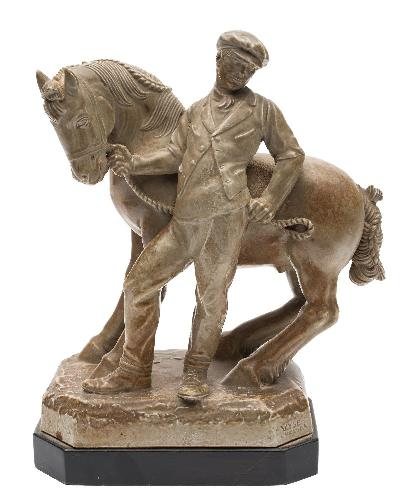 Charles Vyse, a large pottery equestrian figure 'The Horse Fair' covered in a light ash glaze, the handler leaning against and holding the working pony's show bridle, on octagonal mound base incised 'Vyse, Chelsea', circa 1934/36, 29cm high on ebonised stand.