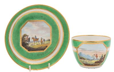 Sale FS41; Lot: 0635: A large Derby breakfast cup and saucer the painting attributed to John Brewer of Bute shape, finely painted with fox hunting scenes within gilt bordered octagonal panels on a banded apple green ground, puce crowned crossed batons marks, circa 1795-1800, cup 7.5cm high, saucer 16.5cm diameter.