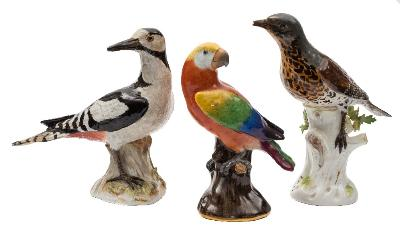 Sale FS41; Lot: 0665: A group of three Meissen models of birds comprising a greater spotted woodpecker, a parrot and a thrush: all on tree stump mound bases, crossed swords marks, incised numerals 2407, 59 and 113, late 19th century, 19, 18 and 22cm [some damage and restoration].