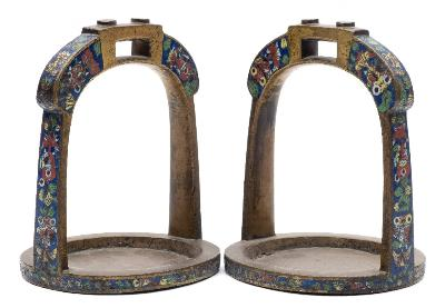 Sale FS41; Lot: 0722: A pair of Chinese bronze and champlevé enamel stirrups decorated with fish, crustacean and water plants, 16cm high.