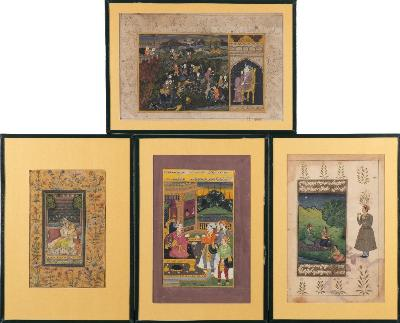 Sale FS41; Lot: 0794: A group of four Mughal School pictures depicting various subjects including young lover by a stream, hunting scene, attendants at court and lover on a balcony, all contained in a fitted wallet.