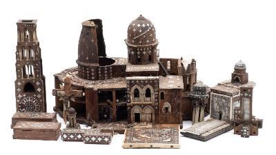 Sale FS41; Lot: 0834: A 19th century hardwood, ivory and mother of pearl inlaid model of the Church of the Holy Sepulchre with removable dome and sections, 47cm wide overall, in various parts, some losses and distressed.