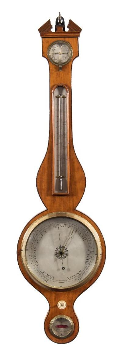 A Pizzala, Hatton Garden, a satinwood wheel barometer the eight-inch round silvered dial with typical barometer markings and having a blued-steel hand and brass pointer, with a Georgian-style cast brass bezel, the satinwood case with a thermometer set within the trunk and a silvered dialled level to the base engraved with the maker's name A Pizzala, 7 Charles Street, Hatton Garden, having an architectural pediment top with brass finial, height 97cm (inc. finial) * Biography There are a number of makers named A Pizzala working in Hatton Garden, London with the first recorded at 7 Charles Street from 1840 until 1846 having taken over the business from FA Pizzala. * Note. Reference Edwin Banfield, Barometer Makers & Retailers, Baros Books 1991.