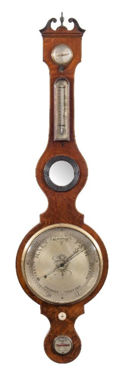 J Shaco, Chorley a mahogany five-dial wheel barometer the ten-inch round silvered dial with typical barometer markings and having a blued-steel hand and brass pointer operated via the bone knob set below and a convex Georgian-style brass bezel, with a silvered hygrometer to the top, a thermometer set within the trunk above a convex 'Butler's' mirror and a silvered round-dialled level to the base engraved with the maker's name J Shaco, Chorley, the mahogany case having boxwood edge lining and a swan-neck pediment with brass finial, height 117cms.