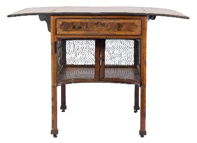 Sale FS41; Lot: 1001: A George III mahogany, rosewood crossbanded and inlaid pembroke/supper table bordered with sycamore lines, the top centred by a geometric stellar medallion, fitted with a drawer to one end with compartment below enclosed by metal grille panel sides and a pair of concave metal grille panel doors to one end, on square chamfered legs, terminating in leather castors, the top 66cm (2ft 2in) x 101cm (3ft 3 3/4in) extended.