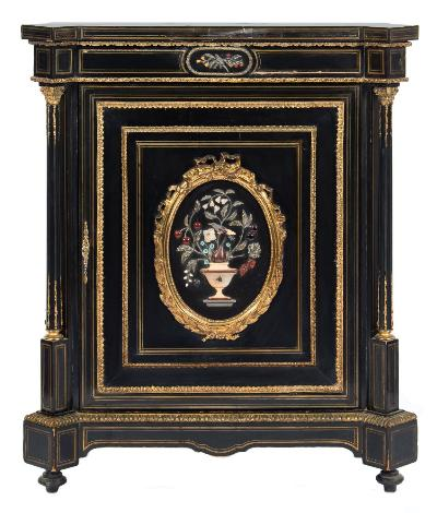 A Victorian ebonised, pietra dura, brass inlaid and gilt metal mounted pier cabinet, of breakfront outline, decorated with brass lines and with applied gilt metal foliate, reeded and beaded mouldings, the top with projecting canted angles, the frieze with a central oval fruiting spray panel, the plush lined and shelved interior enclosed by a door with oval pietra dura panel of flowers and foliage in an urn within a ribbon tied, laurel leaf and beaded frame, flanked by projecting fluted columns with foliate capital on a shaped plinth with short turned tapered feet, 99cm (3ft 3in) wide, 115.5cm (3ft 9 1/2in) high.