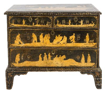 An early 19th Century ebonised, gilt and penwork decorated rectangular chest, the top with classical female figure in a horse drawn chariot and other processional figures and with an angel above, containing two short and two long drawers, decorated with further Classical figures, the sides with birds amidst flowers and foliage, having a moulded foliate apron base, on bracket feet, 99.5cm (3ft 3in) wide.